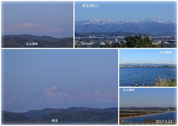 河北潟から 立山連峰(立山主峰)剣岳 白山連峰 白山