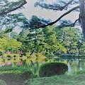 5月の兼六園 霞ヶ池 絵画風に