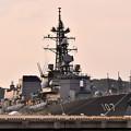 夕暮れの横須賀基地 ヴェルニー公園から護衛艦いかづち 20170610
