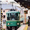 江ノ電腰越駅ホームから到着電車を。。20170625