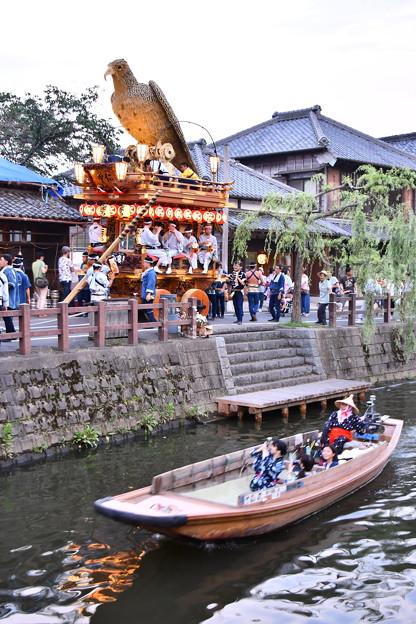 水郷佐原の昔の町並みと渡瀬舟。。佐原の大祭夏祭り 20170716