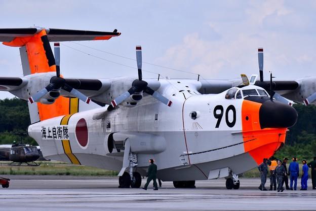 北の大地に来た岩国基地の海自飛行艇US-1A 帰投準備へ