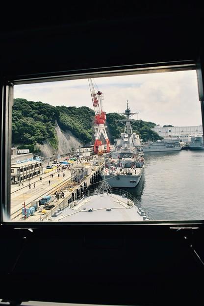Photos: 掃海母艦うらがの艦橋から前方を見る風景。。20170805
