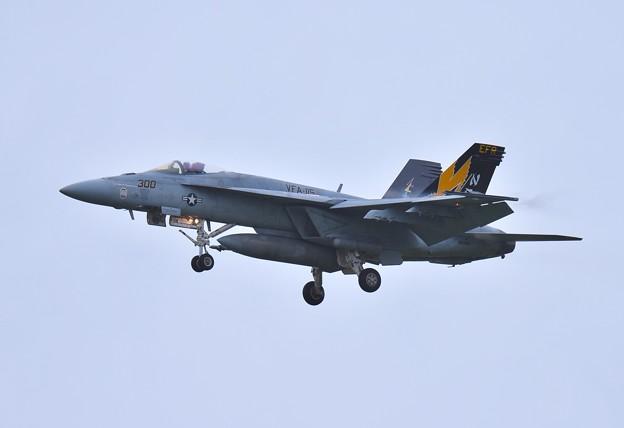 ある日の雨の中の厚木基地。。ローカルから帰投VFA-115eagles タロンNF300。。20170816