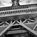 真下から見上げる通天閣。。モノクロ 20171001