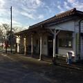 撮って出し。。朝寒い小湊鉄道 上総鶴舞駅 12月10日