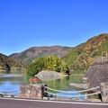 写真: 秋晴れの丹沢湖 三保ダムの紅葉 20171112