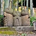 写真: 長谷寺の竹やぶにひっそりといる微笑む地蔵 20171209