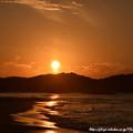 0035 飛行機と海と夕陽
