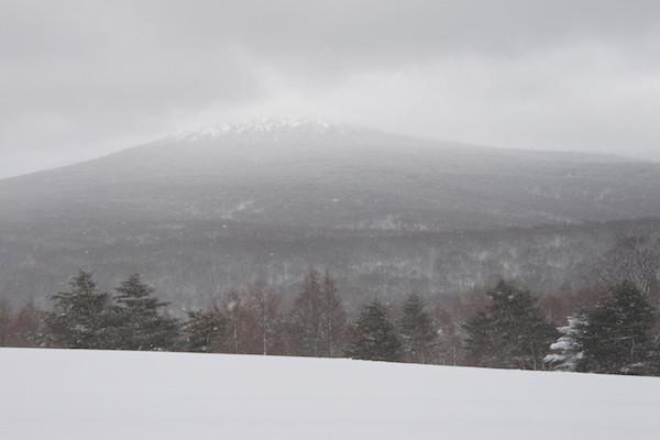 萱野高原では再び雪が降ってきた