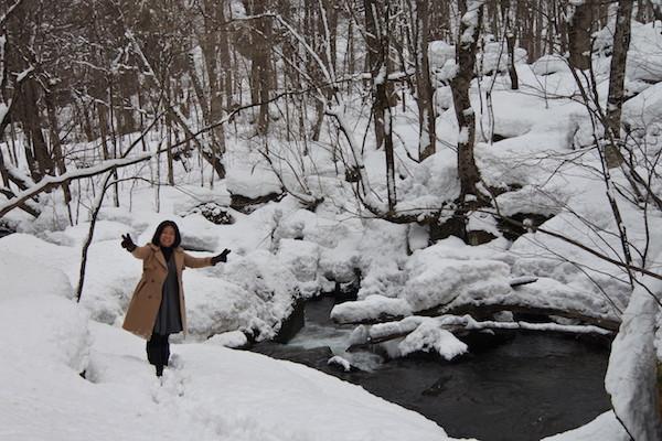 雪の奥入瀬渓流 阿修羅の流れ(上流側から)