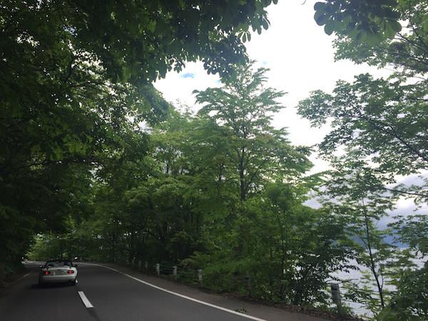 十和田湖東岸を走り