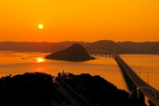 写真: 角島大橋の夕日_1